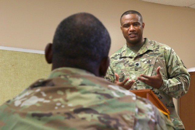 Lt. Col. Khallid Shabazz, the 94th Army Air and Missile Defense Command's chaplain, delivers a sermon during a Jummah prayer service, which is held on Fridays, at Schofield Barracks, Hawaii, Sept. 21, 2018. Shabazz is soon expected to be promoted to colonel, which would be the highest rank ever attained by any Muslim chaplain in the U.S. military.