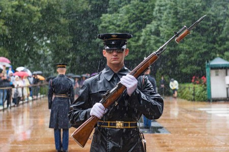Sentinels assigned to the Tomb of the Unknown Soldier, 3rd U.S. Infantry Regiment (The Old Guard), conduct a Changing of the Guard ceremony at the Tomb of the Unknown Soldier, Arlington National Cemetery, Arlington, Va., Sept. 9, 2018. The Tomb of the Unknown Soldier has been guarded year round, 24 hours a day, 365 days a year since 1937.