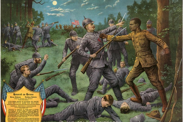 "A 1918 print illustration titled ""Our Colored Heroes"" depicts the heroic efforts of Sgt. Henry Johnson on May 15, 1918. N"