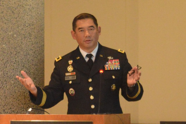 "Maj. Gen. Garrett Yee, the Army's acting deputy chief information officer, G-6, speaks at the Defense Strategies Institute-sponsored ""Cyber Operations for National Defense Symposium"" in Washington, D.C., Sept. 25, 2018."