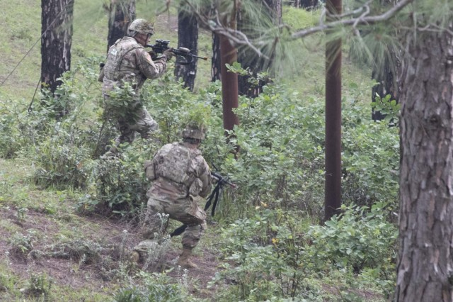 Soldiers with 1st Battalion, 23rd Infantry Regiment, advance toward a target during a move to contact demonstration Sept. 24, 2018, at Chaubattia Military Station, India. This was part of Exercise Yudh Abhyas 18, a bilateral training scenario designed to foster a shared tactical and technical understanding between the partnered military organizations. (U.S. Army photo by Staff Sgt. Samuel Northrup)