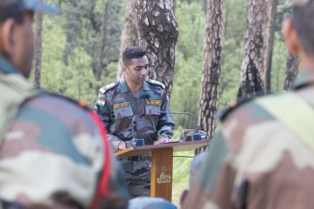 An Indian army officer gives a lecture on the procedures of a search and destroy mission Sept. 24, 2018, at Chaubattia Military Station, India. This was part of Exercise Yudh Abhyas 18, a bilateral training scenario designed to foster a shared tactical and technical understanding between the partnered military organizations. (U.S. Army photo by Staff Sgt. Samuel Northrup)