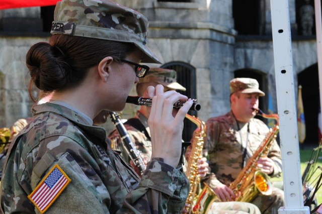 The 78th Army Band members assigned to the Army Reserve's 99th Readiness Division play the Army song during the Northeast Medical Area Readiness Support Group Change of Command ceremony held Sunday, Sept. 16, 2018, at Fort Wadsworth, New York.The Change of Command ceremony symbolizes the continuation of leadership and unit identity despite the change of individual authority.  It also represents the transfer of power from one leader to another; passing the ceremonial flag from outgoing to incoming commander is a physical representation of that transfer.