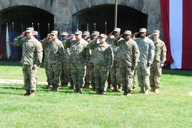 Northeast Medical Area Readiness Support Group holds a change of command, Sept. 16, 2018, at a ceremony at Fort Wadsworth Battery Weed on Staten Island, New York.Maj. Gen. Mary Link oversaw the outgoing commander, Col. Cindy Saladin-Muhammad, pass the command to Col. Steven Gandia. The Northeast Medical Area Readiness Support Group is vitally important to the Army and the Joint Force providing world class health service support across a full range of military operations.The Change of Command ceremony symbolizes the continuation of leadership and unit identity despite the change of individual authority. It also represents the transfer of power from one leader to another; passing the ceremonial flag from outgoing to incoming commander is a physical representation of that transfer.