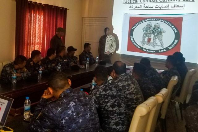 Spc. Willie Dunlap and Pfc. Kuadjo Johnson, medics with Steel Squadron, 3rd Cavalry Regiment, brief Iraqi Federal Police on the first day of Steel First Responder classroom lectures in Iraq, Sep. 3, 2018. The Steel troopers from the Brave Rifles regiment are deployed to Iraq in support of Operation Inherent Resolve, working by, with and through the ISF and coalition partners from 74 nations to defeat ISIS in areas of Iraq and Syria, and to set conditions for follow-on operations to increase regional stability.