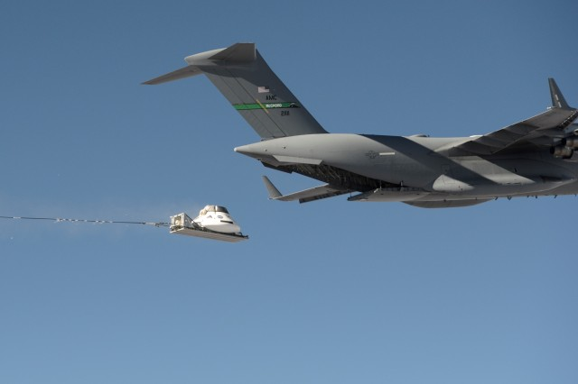 A mock-up of the NASA Orion space capsule recently was dropped over U.S. Army Yuma Proving Ground from a height of 35,000 feet by a C-17 aircraft, in a final test of the 11 parachutes that will be used during an actual space exploratory mission.