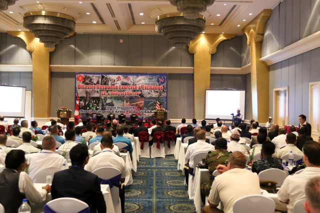 KATHMANDU, Nepal— Brig. Gen. Jeet Gurung, Director of the Directorate of Disaster Management, Nepali Army, provides participants with an event overview during the opening the 2018 Nepal Pacific Resilience Disaster Response Exercise and Exchange, 25 Sep. 2018 in Kathmandu. The exercise is co-hosted by the Nepali Army and the United States Army Pacific with more than 300 disaster response professionals from 14 countries attending. During the four-day exercise, participants from national militaries, government organizations, the United Nations and non-government entities are split into teams according to expertise to work through a common earthquake scenario while sharing knowledge, testing common operating procedures and making recommendations to improve future disaster planning and response procedures. (U.S. Army photo by Sgt. 1st Class Corey Ray)