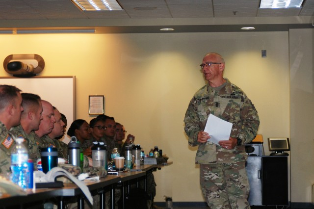 Retired Sergeant Major of the Army Kenneth O. Preston speaks to New York Army National Guard noncommissioned officers during a NCO Professional Development Workshop held at Division of Military and Naval Affairs Headquarters in Latham, N.Y. on Sept. 21, 2018. Eighty NCOs attended the two-day course hosted by New York Army National Guard Command Sgt. Major David Piwowarski. Preston, who currently serves as the Vice President of NCO and Soldier Programs for the Association of the United States Army, was the Army's top NCO from 2004 to 2011. He spoke about the value of NCO education and the role NCOs play in the Army.