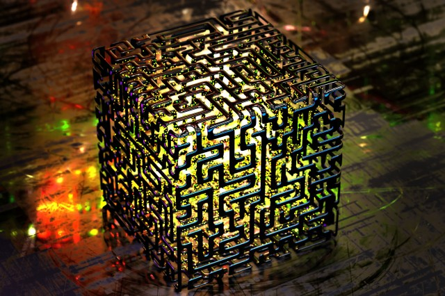 Complex quantum computers of the kind depicted in this conceptual rendering are decades away, but quantum clocks and other applications of the knowledge that quantum mechanics has discovered could be in wide use much sooner.