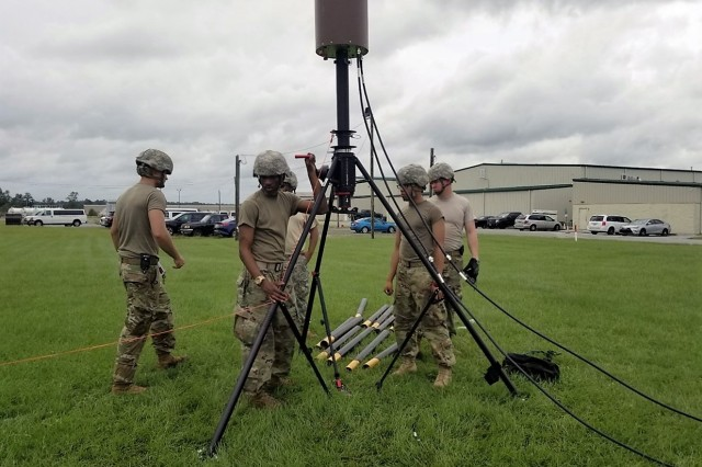 The North Carolina Army National Guard 113th Sustainment Brigade sets up its 4G LTE satellite antenna to enable its Disaster Incident Response Emergency Communications Terminal (DIRECT) to provide 4G LTE to the Army National Guard and first responders in Kinston, N.C., in the aftermath of Hurricane Florence, Sept. 2018.
