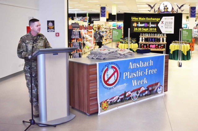 "ANSBACH, Germany -- U.S. Army Garrison Ansbach (USAG Ansbach) launched its first ever Plastic-Free Week Sept. 23 -- 30, 2018. During the week the garrison introduced environmentally friendly plastic-free options available to the public to reduce single-use plastic and plastic waste. Ansbach Plastic-Free Week began with a public ceremony Sunday, 23 Sept. at the military Exchange and Commissary complex located on Urlas Kaserne. In his opening remarks launching the week-long campaign U.S. Army Garrison Ansbach Commander Col. Steven Pierce said, ""Approximately 300 million tons of plastic will be produced this year and scientists estimate that by 2050 there will be as much plastic in the oceans as there are fish."" said Pierce. ""Plastic has many beneficial uses but we must use and dispose of it responsibly; specifically single-use plastics such as straws, water bottles, plastic shopping bags and packaging, As good stewards of the environment we have to work to reduce these types of plastic."""