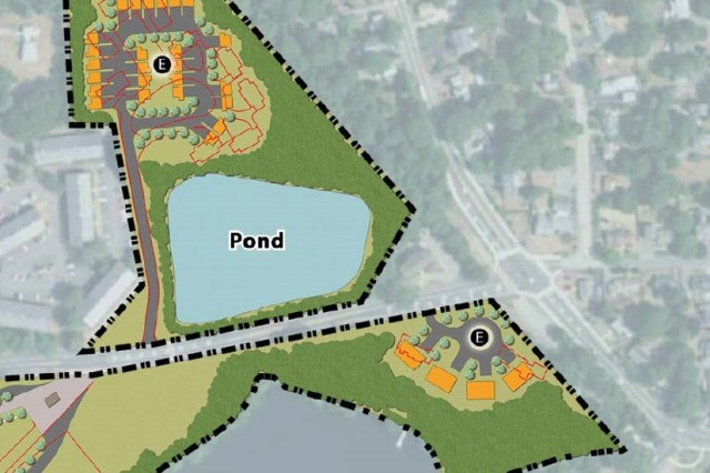 This diagram depicts the locations of future Natick Solider Systems Center (NSSC) housing units. North of the pond, 24 housing units are expected to be built on Heritage Ln. South of the pond, four units are expected to be built on General Greene Ave. Disposal for current housing is expected to begin January 2019, with new construction beginning in May 2019.