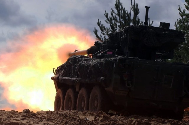 Stryker crewmen with the 1st Squadron, 2nd Cavalry Regiment fire an M1128 Mobile Gun System during a joint combined-arms live-fire exercise in Poland.