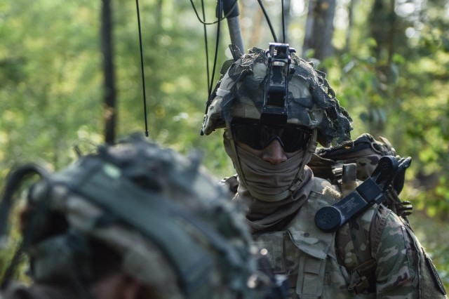 Soldiers with CEWI Platoon, Delta Company, 54th Brigade Engineer Battalion, provide actionable signal intelligence to help the 173rd Airborne Brigade during Saber Junction 18 in Germany.