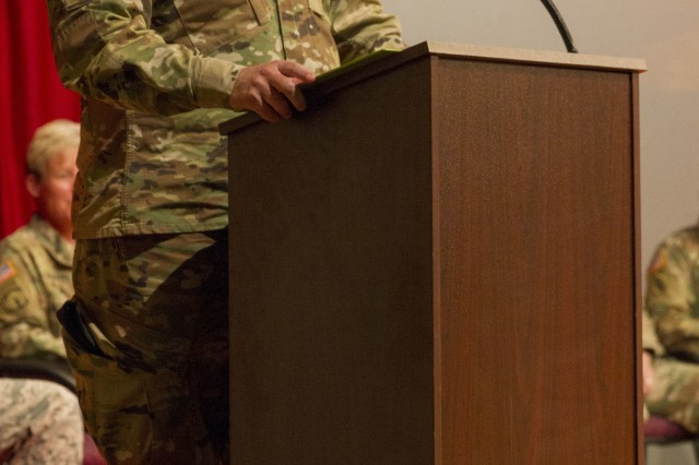 Army Brig. Gen. Harrison B. Gillium, Deputy Commanding General of the U.S. Army John F. Kennedy Special Warfare and School speaks during a valor ceremony for Bravo Company, 5th Battalion, 19th Special Forces Group (Airborne) at McMahon Auditorium on Fort Carson, Colorado, Sept. 16, 2018. Multiple Bravo Company Soldiers earned awards for valorous action from their deployment to Afghanistan in the spring of 2017. (U.S. Army photo by Sgt. Justin Smith)
