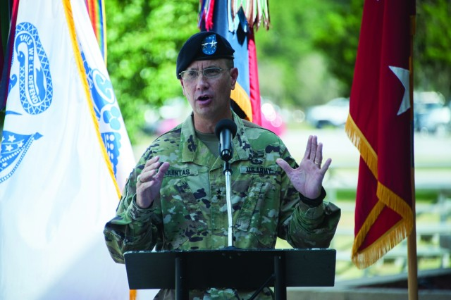 rd ID Commander, Maj. Gen. Lee Quintas speaks at the Liberty County VVA 789 POW/MIA Ceremony, Sept. 21 at Fort Stewart. (U.S. Army photo by Catherine D. Johnson).