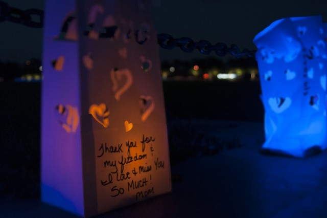 A lantern is displayed on Cottrell Field, Fort Stewart, Georgia during a Lights of Love ceremony, Sept. 23, 2017. The event was part of a series of events conducted to honor Gold Star Mother's Day. (U.S. Army photo by Staff Sgt. Sierra A. Melendez, 50th Public Affairs Detachment, 3rd Infantry Division public affairs)