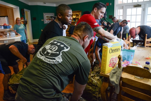 COLUMBUS, Ga. (Sept. 28, 2018) -- Soldiers and civilians from Easy Company, 1st Battalion, 19th Infantry Regiment, at Fort Benning, Georgia, and the Fort Benning Directorate of Emergency Services ruck donation items more than 10 miles to the Columbus, Georgia, Ronald McDonald House September 21, 2018. The company, which started the donation drive in June, collected approximately 250 items ranging from canned goods to toiletries and household cleaning items. (U.S. Army photos by Megan Garcia, Maneuver Center of Excellence, Fort Benning Public Affairs)