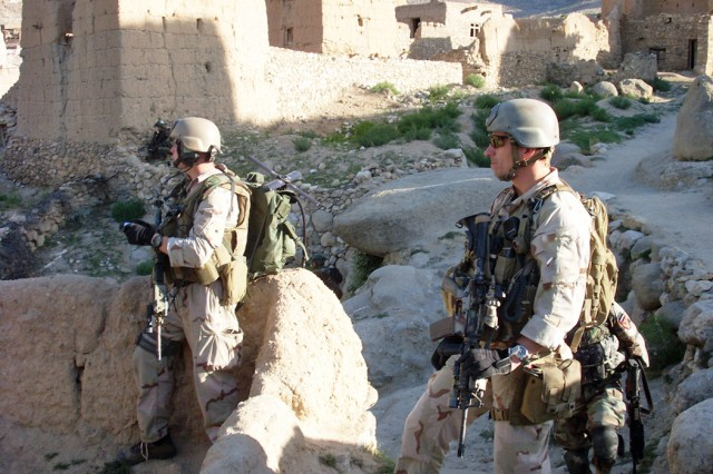Members of Operational Detachment Alpha 3336 of the 3rd Special Forces Group (Airborne) recon the remote Shok Valley of Afghanistan where they fought an almost seven-hour battle with terrorists in a remote mountainside village.