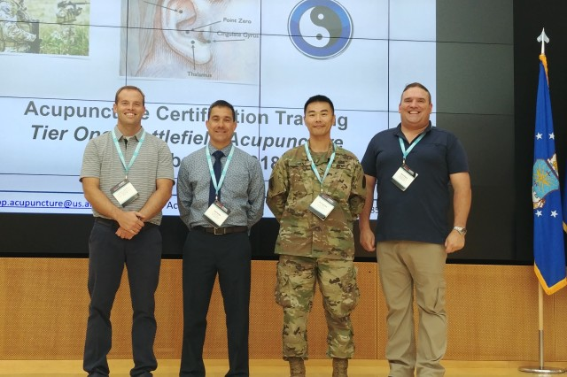 Pictured left to right: Dr. Nathan Evans, COL Joel Tanaka and MAJ Yin-Ting Chen from Evans Army Community Hospital and Dr. David Djuric from Brooke Army Medical Center.
