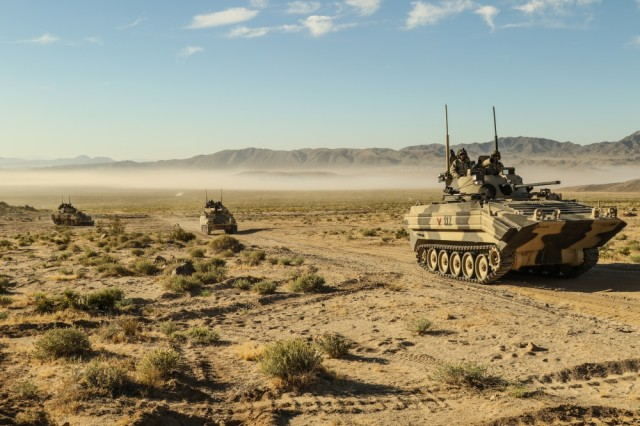 U.S. Army Soldiers, posing as an Opposing Force, operate OPFOR Surrogate Vehicles and Main Battle Tanks at the National Training Center, May 2, 2017.