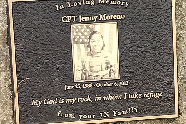 The plaque at the Madigan Pond in remembrance of Capt. Jenny Moreno, a nurse who was deployed from Madigan Army Medical Center when she lost her life trying to attend to a fellow Soldier in Afghanistan in 2013.