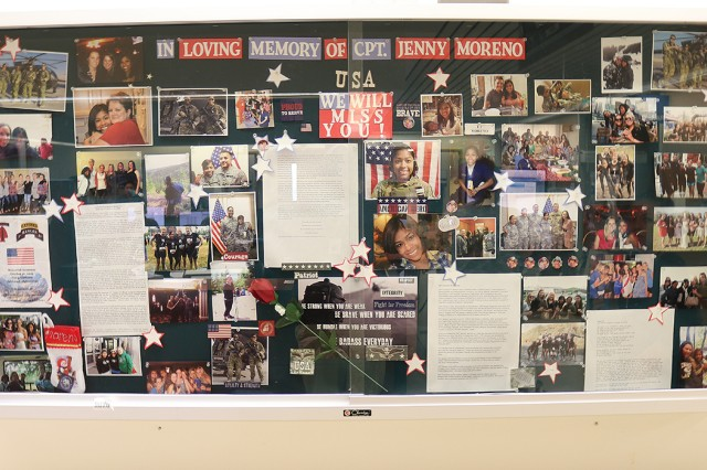 The remembrance board in 7 North of Madigan Army Medical Center is maintained by the nurses and staff who worked with Capt. Jenny Moreno, a nurse who was deployed from Madigan when she lost her life trying to attend to a fellow Soldier in Afghanistan in 2013.