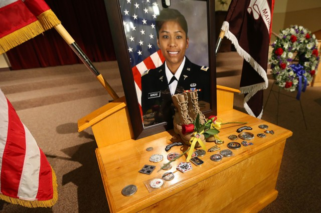 The memorial display for Capt. Jenny Moreno, a nurse who was deployed from Madigan Army Medical Center when she lost her life trying to attend to a fellow Soldier in Afghanistan in 2013.
