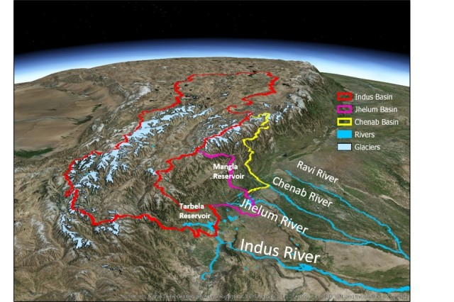 A three-dimensional view of the Upper Indus River Basin and tributaries watersheds, originating in the Himalayan Mountains on the Tibetan Plateau in Central and East Asia.