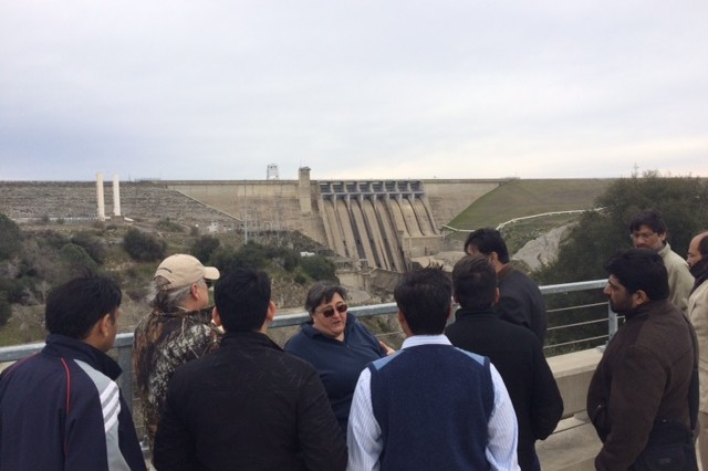 Joan Klipsch, Senior Hydraulic Engineer and Technical Lead for HEC-ResSim at USACE Hydrologic Engineering Center, lead a tour of Folsom Dam in Folsom, California for delegates of Pakistan water resource Ministries and Agencies.