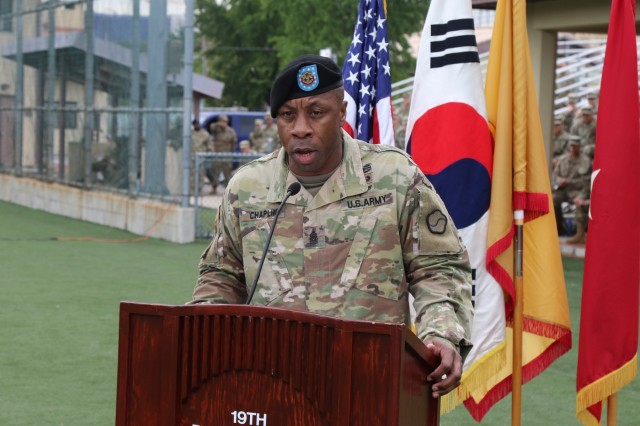 "Command Sgt. Maj. Maurice V. Chaplin addresses the Soldiers of the 19th Expeditionary Sustainment Command during his Relinquishment of Responsibility Ceremony Sept. 28, 2019 at Camp Walker, Daegu, Republic of Korea. Chaplin will continue to serve in a command capacity as he has been selected to serve as the command sergeant major of the 8th Theater Sustainment Command at Fort Shafter, Hawaii. As parting advice, Chaplin offered this as leadership guidance for all to know, ""Trust is earned, not given!"" (U.S. Army photo by Korean Augmentation to the U.S. Army Pfc. Jeong, Ji Hun)"