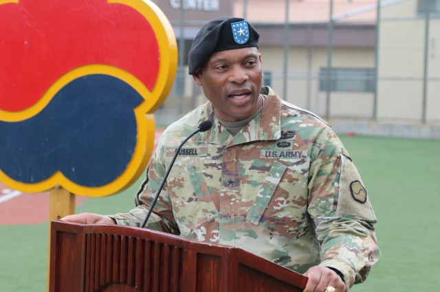 The commander of the 19th Expeditionary Sustainment Command, Brig. Gen. Michel M. Russell, Sr., speaks to his unit during a Relinquishment of Responsibility Ceremony in honor of the outgoing command sergeant major, Command Sgt. Maj. Maurice V. Chaplin Sept. 28, 2018 at Camp Walker, Daegu, Republic of Korea. Russell said he will miss the companionship of his trusted advisor, but wished Chaplin well as he makes his transition to the command sergeant major position for the 8th Theater Sustainment Command at Fort Shafter, Hawaii. (U.S. Army photo by Korean Augmentation to the U.S. Army Pfc. Jeong, Ji Hun)