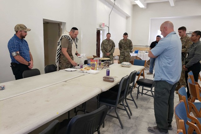 Army Rabbi Chaplain (Capt.) David Becker prepares to offer special food during Yom Kippur at Bagram Airfield Sept. 18, 2018 as part of the Jewish festivities held this time of year.