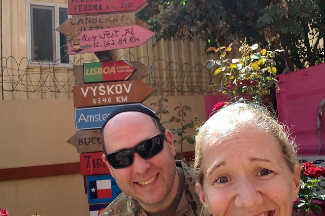 Shown is a selfie taken Sept. 22, 2018 by Master Sgt. Capricia Turner, religious affairs noncommissioned officer, Indiana National Guard, with Army Rabbi Chaplain (Capt.) David Becker in Kabul during his Jewish ministry trip to Afghanistan.