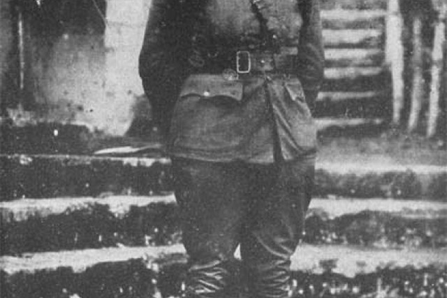 Major Charles Whittlesey, the commander of the 1st Battalion of the 308th Infantry Regiment, 77th Division who earned the Medal of Honor as the commander of 540 Soldiers made famous as The Lost Battalion. Whittlesey refused to surrender his command to surrounding German forces for six days until his men were relieved.