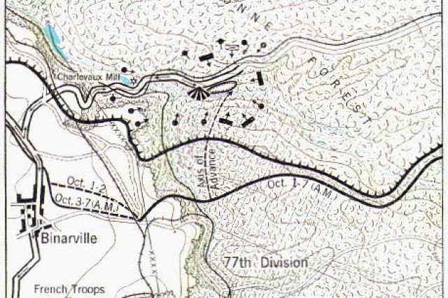 A map indicating the position of the 1st Battalion and 2nd Battalion of the 308th Infantry Regiment and the other units trapped in a pocket behind German lines in October 1918 which became known as the Lost Battalion.