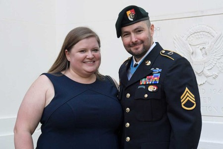 The Shurer family after the Medal of Honor Ceremony in honor of former U.S. Army Staff Sgt. Ronald J. Shurer II at the White House in Washington, D.C., Oct. 1, 2018. Shurer was awarded the Medal of Honor for actions while serving as a senior medical sergeant with the Special Forces Operational Detachment Alpha 3336, Special Operations Task-Force-33, in support of Operation Enduring Freedom in Afghanistan, April 6, 2008.