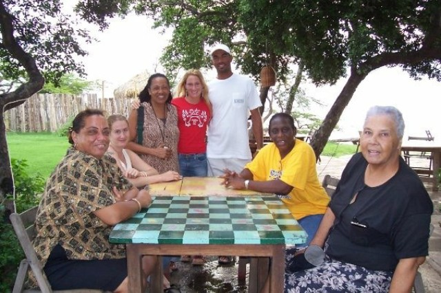 Elizabeth Decelles (standing in the middle) with her community development group in Jamaica.