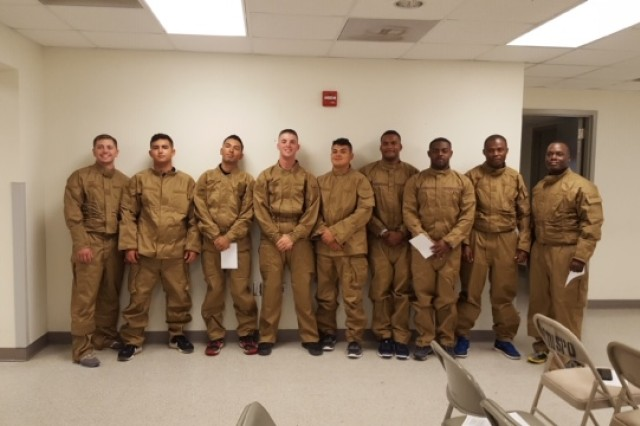 Soldiers from the 92F petroleum supply specialist military occupational specialty at Fort Hood, Texas, are test wearing four variants of new coveralls during limited user evaluation.