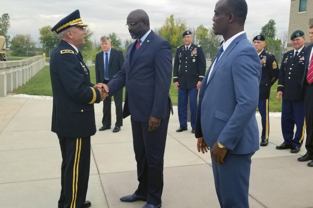 Liberian President George Manneh Weah and Minister of Defense Daniel Ziankahn met with Major General Greg Vadnais, the adjutant general of the Michigan National Guard, September 28th, 2018 in Lansing, Michigan. President Weah was given a tour of MING facilities and spoke with members of the Michigan National Guard. Liberia and Michigan were paired in 2009 under the National Guard Bureau State Partnership Program that seeks to strengthen democracy and security in emerging nations by sharing military-related best practices and building ally bonds among NATO members.