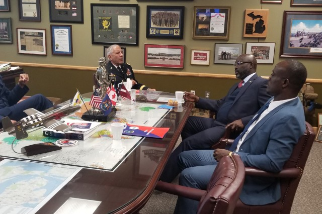 Liberian President George Manneh Weah and Minister of Defense Daniel Ziankahn met with Maj. Gen. Greg Vadnais, the adjutant general of the Michigan National Guard, and Maj. Gen. Leonard Isabell, Commander of the Michigan Air National Guard, September 28th, 2018 in Lansing, Michigan. President Weah was given a tour of MING facilities and spoke with members of the Michigan National Guard. Liberia and Michigan were paired in 2009 under the National Guard Bureau State Partnership Program that seeks to strengthen democracy and security in emerging nations by sharing military-related best practices and building ally bonds among NATO members.