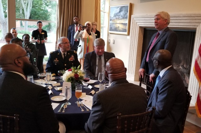 Liberian President George Manneh Weah and Minister of Defense Daniel Ziankahn met with Maj. Gen. Greg Vadnais, the adjutant general of the Michigan National Guard, September 28th, 2018 in Lansing, Michigan. Michigan Governor Rick Snyder hosted the President and his delegation at a special dinner held at the Governor's residence. President Weah was later given a tour of MING facilities and spoke with members of the Michigan National Guard. Liberia and Michigan were paired in 2009 under the National Guard Bureau State Partnership Program.