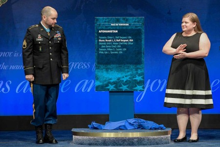 Staff Sgt. Ronald J. Shurer II is inducted into the Hall of Heroes during a ceremony at the Pentagon in Washington, D.C., Oct. 2, 2018. Shurer was awarded the Medal of Honor, Oct. 1, 2018, for actions while serving a senior medical sergeant with the Special Forces Operational Detachment Alpha 3336, Special Operations Task-Force-33, in support of Operation Enduring Freedom in Afghanistan, April 6, 2008.