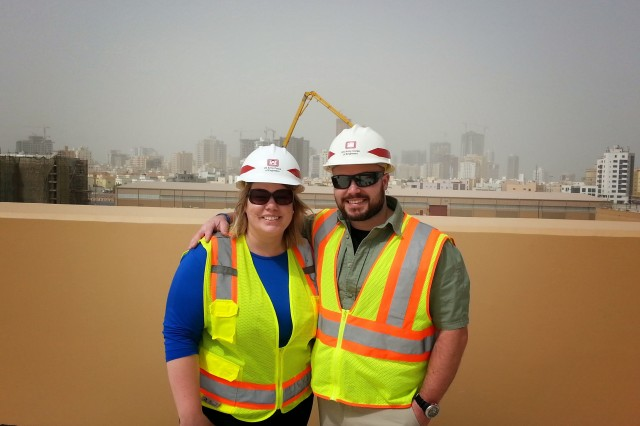 Middle East District team members Regina Schowalter, Deputy District Counsel, and Project Manager Pete DeMattei at construction site in Bahrain.
