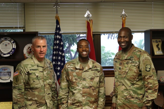 U.S. Army Brig. Gen. Michael T. Morrissey, Commander of the 94th Army Air and Missile Defense Command (left), Staff Sgt. Clifford T. Burton Jr. (center) and Command Sgt. Maj. Eric R. McCray, the 94th Army Air and Missile Defense Command, Command Sgt. Maj. (right), smile for a picture to celebrate Burton on earning the National Association for the Advancement of Colored People, Medgar Evers Outstanding Community Service Award on Sept. 28, 2018, at Joint Base Pearl Harbor-Hickam, HI. (Photo by Sgt. Malcolm Cohens 94th Army Air and Missile Defense Command)