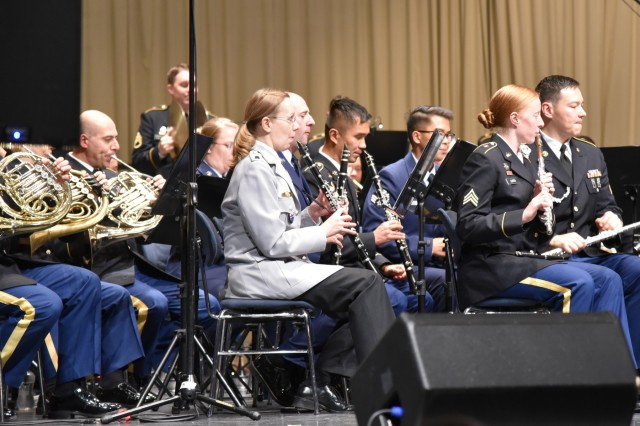 The U.S. Army Europe Band and Chorus, along with members of the U.S. Air Forces in Europe Band and Heeresmusikkorps Koblenz, perform at the fifth annual German American Friendship Concert at the Fructhalle in Kaiserslautern, Germany, Oct. 3.