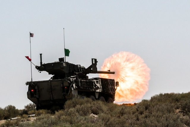 An M1128 Stryker Mobile Gun System, with 1st Squadron, 82nd Cavalry Regiment, Oregon Army National Guard, shoots it's 105mm cannon during a live-fire exercise during the squadron's annual training, July 26, 2018, at Orchard Combat Training Center near Boise, Idaho. This was the first AT the 1-82nd Cavalry Squadron was able to conduct a full series of live-fire qualifications with their Stryker vehicles that they received less than two years ago.