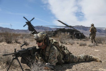Special Forces Soldiers, assigned to 10th Special Forces Group (Airborne) conduct a combat training exercise at the Nevada Test and Training Range near Nellis Air Force Base, Nev., Aug. 28, 2018. The purpose of this training is to provide U.S. Air Force students going through the Joint Terminal Attack Controller course with a realistic combat mission-training scenario.