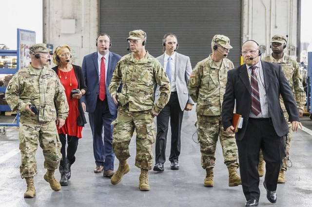Maj. Gen. Daniel Mitchell, pictured fourth from left, toured Anniston Army Depot Sept. 24-25. This was Mitchell's first visit to the installation since taking command of the U.S. Army Tank-automotive and Armaments Command in July.