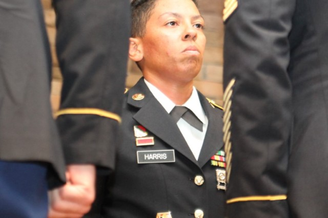 Drill Sergeant (Staff Sgt.) Bethany Harris, 1st Battalion, 40th Field Artillery, is the newest member of the Sgt. Audie Murphy Club - Fort Sill (Okla.) Chapter.